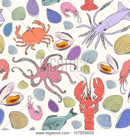 Vector Doodle Seafood Seamless Pattern.