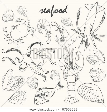 Vector Doodle Seafood Set.