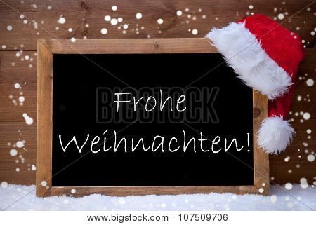 Card, Chalkboard, Frohe Weihnachten Mean Merry Christmas, Snow