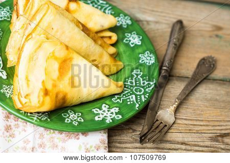 Dessert With Pancakes And Honey