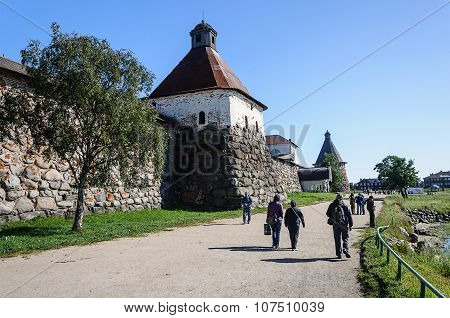 Tourists Near The Walls Of Solovetsky Monastery