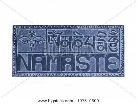 Isolated Namaste Sign On Stone