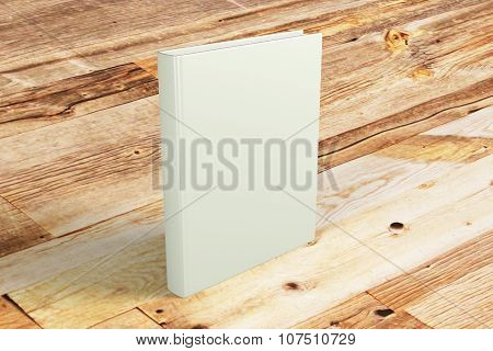 Blank Cover Of Book On Wooden Table, Mock Up