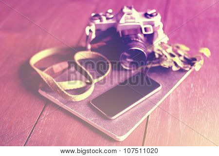 Blank Smartphone Screen, Old Style Camera And Diary On Wooden Floor, Instagram Photo Effect