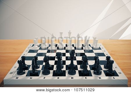 Game Of Chess On Wooden Table
