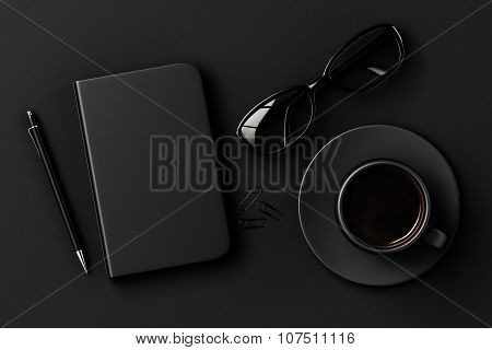 Blank Diary, Pen, Cup Of Coffee, Clips And Glasses On Black Table