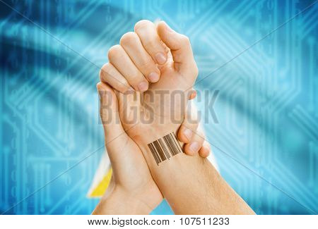 Barcode Id Number On Wrist And National Flag On Background - Saint Lucia