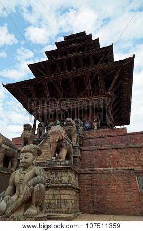 Nyatapola Temple On Taumadhi Tole Near Durbar Square Of Bhaktapur
