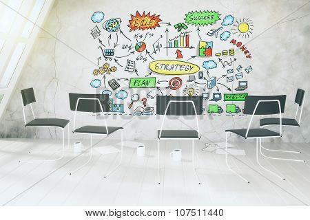 Strategy Plan Concept On Concrete Wall In Loft Romm With Coffee And Chairs