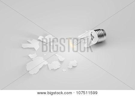 Hope Dies Last Concept With Broken Glowing Lightbulb