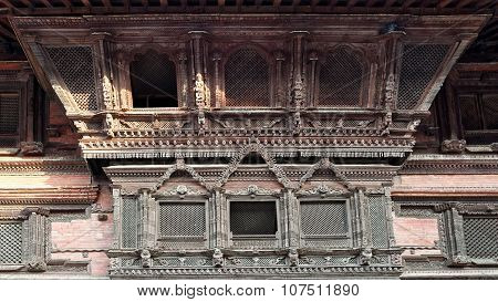 Kumari Devi Windows In Kathmandu, Nepal