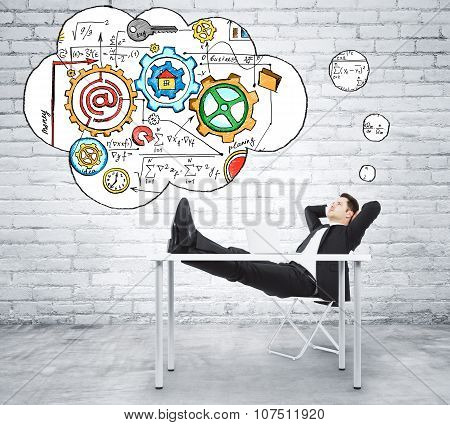 Man Sitting At The Table And Thinking About Creating A Business Plan