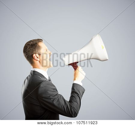 Businessman Shouts A Shout