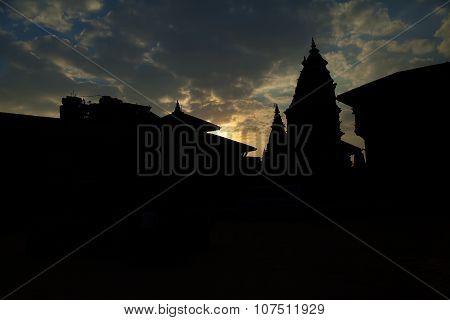 Bhaktapur Durbar Square sunset and silhouettes