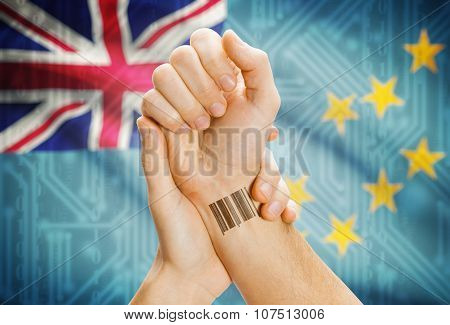 Barcode Id Number On Wrist And National Flag On Background - Tuvalu