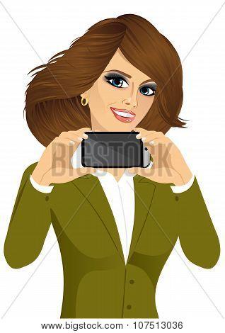 businesswoman displaying her smartphone