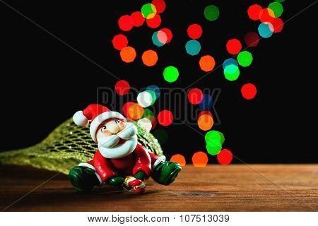 Santa Claus, Lights And Bokeh