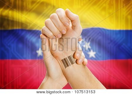 Barcode Id Number On Wrist And National Flag On Background - Venezuela