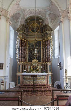 KOENIGSSEE, GERMANY - AUGUST 13, 2015: Inside the St. Bartholomew's church a Roman Catholic pilgrimage church in the Berchtesgadener Land