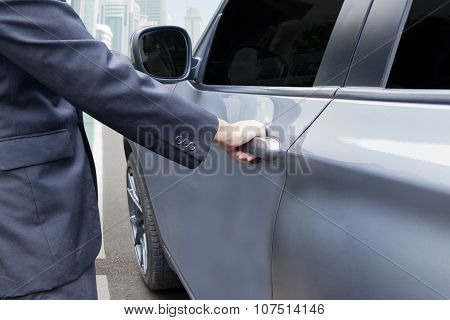 Hand Opening The Car Handle
