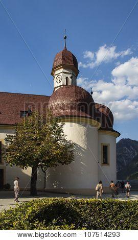 Koenigssee, Germany - August 13, 2015: St. Bartholomew's church a Roman Catholic pilgrimage church in the Berchtesgadener Land named after Saint Bartholomew the Apostle