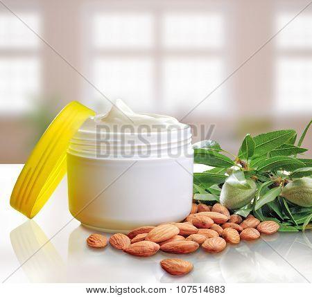 Almond Moisturizer Cream Jar Open Windows Background Square Composition