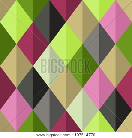 Geometrical Vector Seamless Pattern With Bright Diamonds