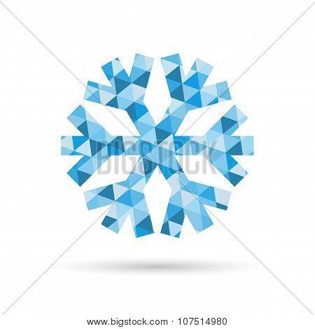 Snowflake, Vector New Year And Christmas Icon Of Blue Triangles