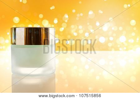 Moisturizer Concept Jar Closed Yellow Bokeh Background