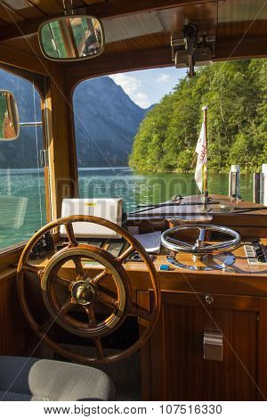 KOENIGSSEE, GERMANY - AUGUST 13, 2015: Cabin of an electric pleasure boat operating on the Koenigssee lake that commutes between Schoenau St. Bartholomew and Salet