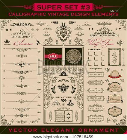 Calligraphic Design vintage elements. Vector illustration logo set. Border frames collection royal ornament page decoration. For birthday card, invitations, Restaurant, Royalty, Cafe, Hotel, Heraldic