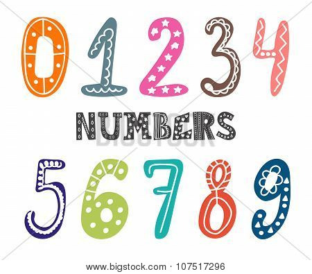 Hand Drawn Numbers Set. Collection Of Cute Colorful Numbers