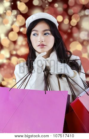Lovely Lady Carrying Shopping Bags
