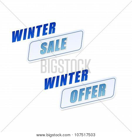 Winter Sale And Offer In Flat Design Labels