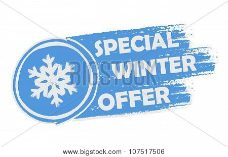 Special Winter Offer With Snowflake Sign, Drawn Banner