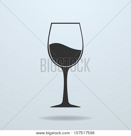 Glass Of Wine Vector Icon.
