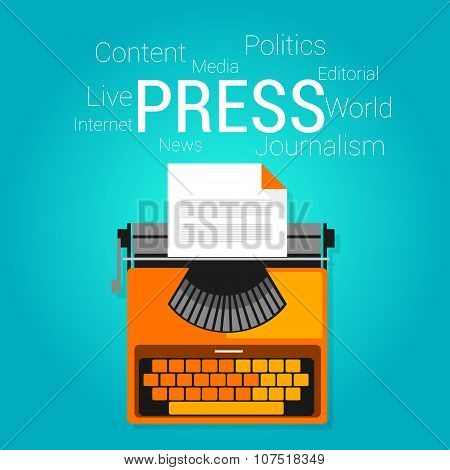 press journalism symbol type writer writing editorial vector flat illustration concept