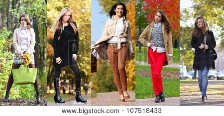 Collage autumn fashion. Five different young women in trendy clothes pines