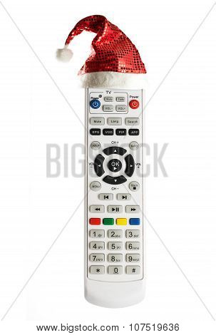 Single Remote Control With Christmas Hat Isolated On White Background
