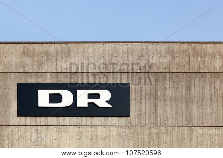 DR logo on the facade of radio and television studios in Aarhus