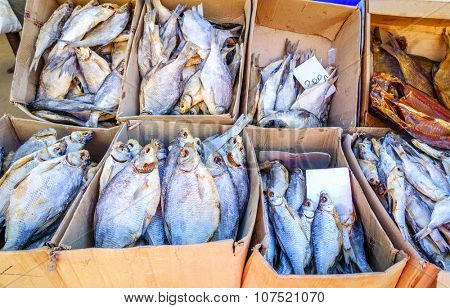 Dried salted fish at a farmers market in Pyatigorsk, Russia