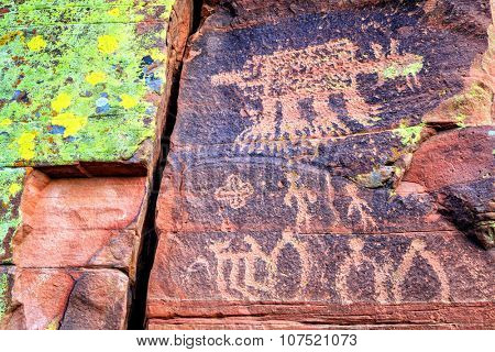 Closeup image of Indian petroglyphs on a rock face near Cottonwood, Arizona