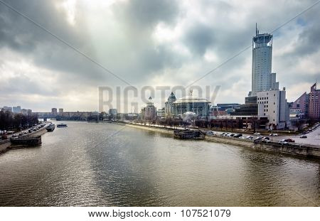 View to the Moscow River, Swissotel and Moscow International Music Hall