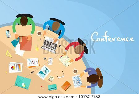 Business People Teamwork Office Working Sitting Conference Table