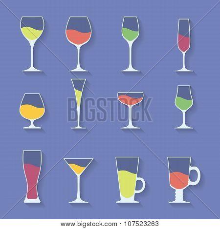 Vector Icon Set Of Utensil. Wine Beer Martini Whiskey Brandy Glasses.