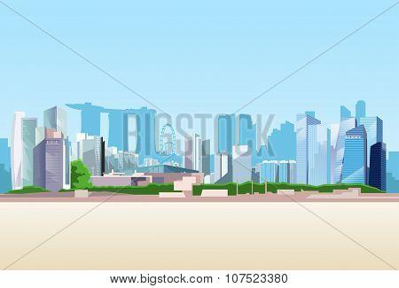 Singapore City View Skyscraper Background Skyline