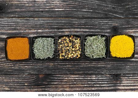 Different Bowls Of Spices