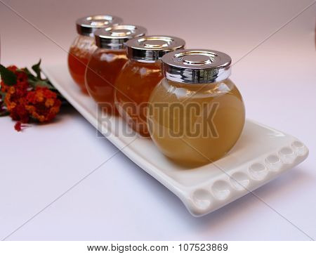 Jam of quince, peaches, apricots and honey