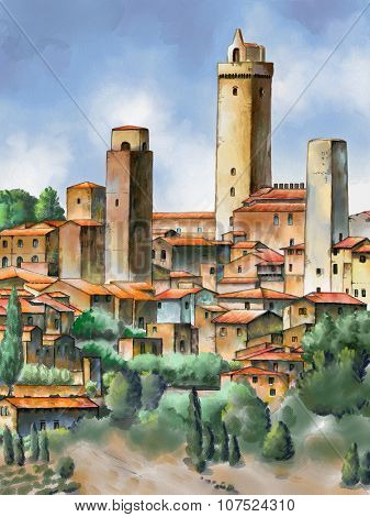 Original watercolor painting depicting San Gimignano in Tuscany, Italy.