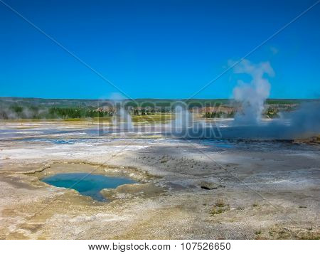 Hot spring pools in Yellowstone